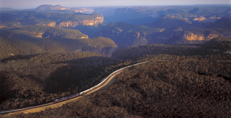 Indian Pacific crosses the Blue Mountains west of Sydney
